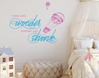 Think & Wonder, Wonder and Think | Dr Seuss Books Quote Reading Nursery Kids Children's Bedroom Nursery | Removable Vinyl Wall Sticker