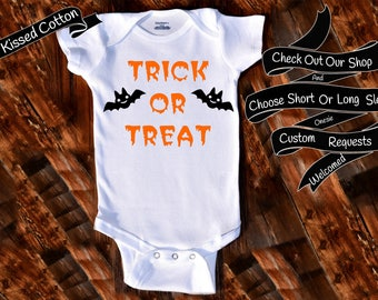 Baby Onesie Trick OR Treat Shower Gift Nursery Custom Clothing Infant Gerber Baby Bodysuit {K222}
