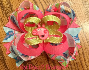 Peppa Pig Stacked Boutique Bow