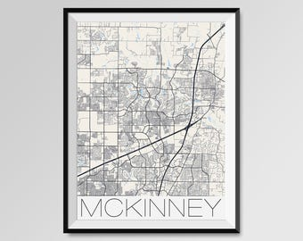 MCKINNEY Texas Map, McKinney City Map Print, McKinney Map Poster, McKinney Wall Map Art, McKinney gift, Custom city maps, Personalized maps
