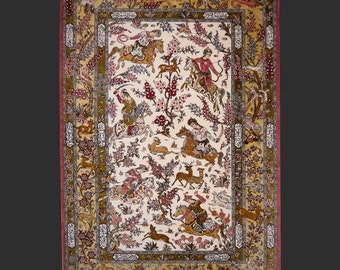 QUM Persian silk rug  5.2 x 3.6 ft / 155 x 105 cm vintagehunting carpet birds Ghom Seide