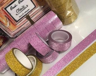 Sparklie Pink & Gold Glitter Washi Tape- 15MM