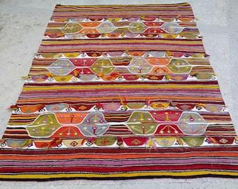 Oushak Earring Patterned ,Bright Color Anatolian Vintage Kilim Rug,İnterior  Design Rug,1970s