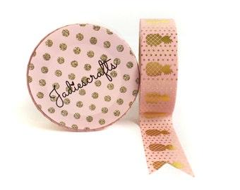 Salmon Pink & Gold Foil Pineapple Washi Tape