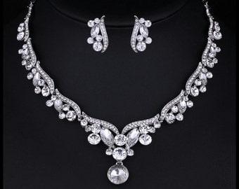 Silver Bridal Jewelry Set Bridesmaids Jewelry Bridal Necklace Set Bridal Crystal Necklace Crystal Jewelry Wedding Accessories Waterdrop