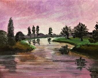 Acrylic Landscape in Violet