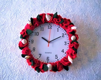 Wall Clock - crochet red flowers with green leaves and natural seashells – very nice, bright home décor, Crochet plants for all occasions