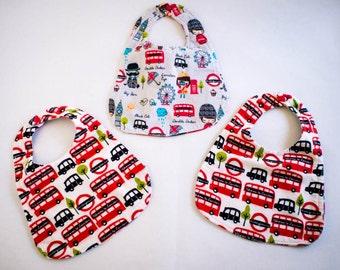 Modern Flannel Baby Bibs- London Calling! (Free Shipping)