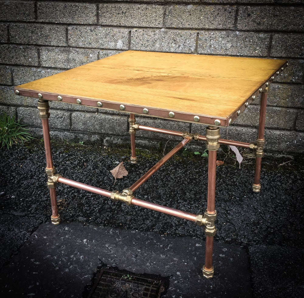 Copper Wooden Coffee Table: Reclaimed Oak Flooring Coffee Table With Copper Pipe Base