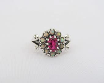 Vintage Sterling Silver Ruby & Opal Cluster Ring Size 6