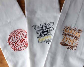 Custom 100% Ringspun Cotton Vintage Style Flour Sack Tea Towel Dish Cloth - ANY 3 - Bundle and Save Set
