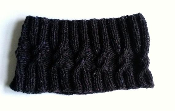 Knit Neckwarmer: Man's Cable Knit Seamless Headband in luxury wool; original design. Made in Ireland. Black/purple Debbie Bliss tweed yarn.
