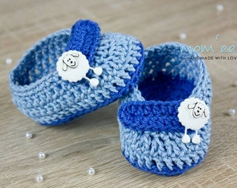 Baby shoes / baby moccasins Nico in light blue medium blue 0-3 months