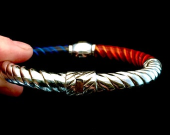 Sterling silver Italian Designer hinged bracelet with red and blue enameling (B11)