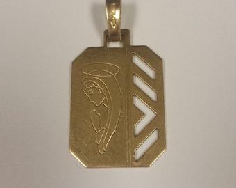 18K Yellow Gold Praying Angel Pendant