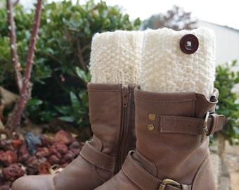 Legwarmers boot cuffs - knit boot cuffs - cream boot cuffs - handmade baby boot cuffs - Made in America - teenager gift, baby shower gift