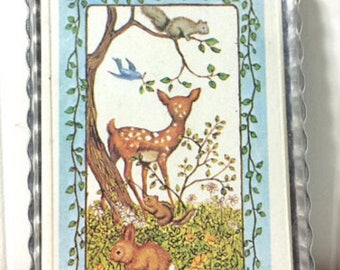 Adorable Vintage Deck of Cards with Case Deer in the Forest