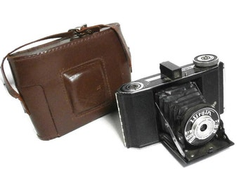 Vintage Art Deco Collectible Camera | Wirgin Deluxe Folding Camera | Black & Chrome Camera with Bellows | Meniscar 75mm  Lens Camera