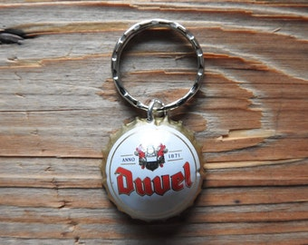 Duvel Belgium beer bottle cap key chain - Handmade by Charlie