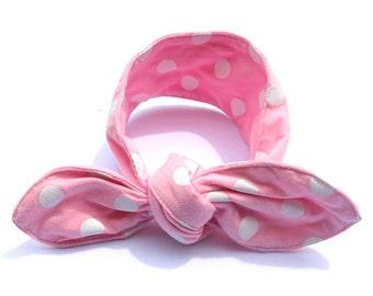 Pink Headband With White Polka Dots - The Minnie Headband