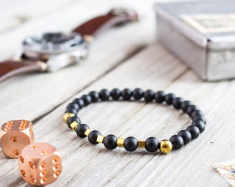 6mm - Matte black onyx beaded stretchy bracelet with gold plated hematite beads, gemstone bracelet, mens bracelet, womens bracelet