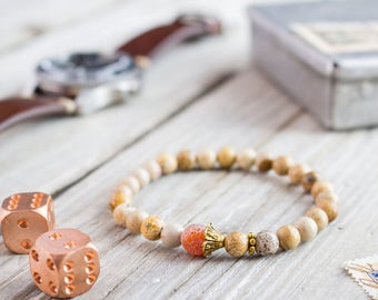 6mm - Brown jasper stone beaded stretchy bracelet with gold plated beads and a crackle orange agate, bead mens bracelet, womens bracelet