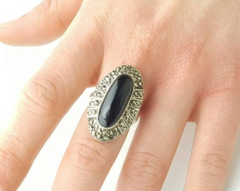 Vintage Sterling Silver Marcasite and Onyx Ring- Size 5