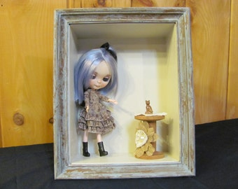 Blythe doll room box, display box, hanging room box, shadow box, distressed room box