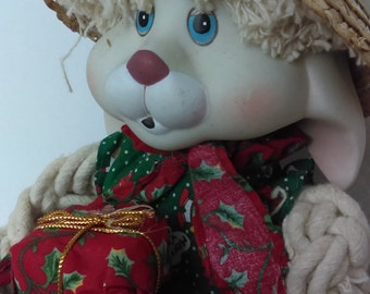 Vintage Rabbit  Rag Bunny with Ceramic Face and Holding little presents and wearing Christmas Cloths Easter Decor Easter Basket Gifts