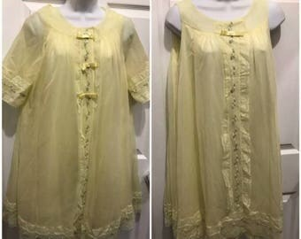 1960s Yellow Chiffon Pajama Set Nightgown with Robe  Sheer Lace embroidered  Negligee Small From ShadowLine