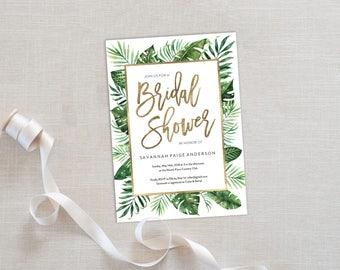 Bridal Shower Invitation Template   Editable Invitation Printable   Wedding Shower Palm Leaf Invite   EDN 5486