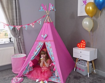 childrens teepee by chookeys luxury pink floral + hanging love heart cushion with name in glitter fabric