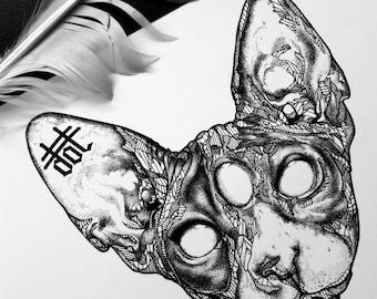 SPHYNX - Art Print - Cat - Intricate Illustration - Dotwork Linedrawing - Dark Art - Tattoo - Blackwork
