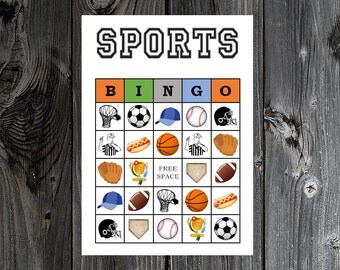 Sports Bingo 30 Printable Sports Baseball Football Soccer Basketball Birthday Party Bingo Game Cards