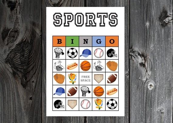 sports bingo 30 printable sports baseball football soccer