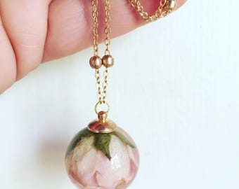 Resin necklace with Rose Bud real