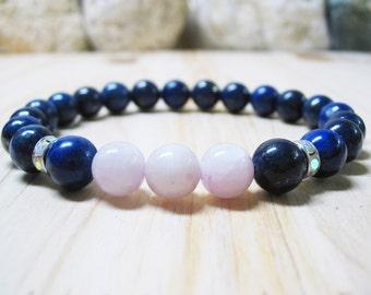 Pink Kunzite Bracelet Lapis Lazuli Bracelet Gemstone Bracelet Healing Bracelet Wrist Mala Bracelet Calming Bracelet Healing Crystal