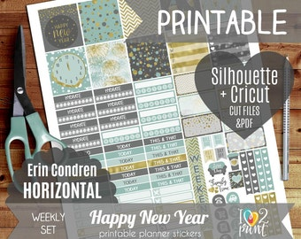 New Year Weekly Printable Planner Stickers, EC Horizontal Planner Stickers, Weekly Stickers, ...