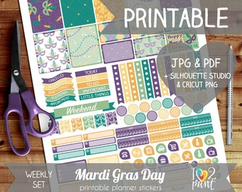 Mardi Gras Printable Planner Stickers, Erin Condren Planner Stickers, Weekly Planner Stickers, February EC Stickers, SILHOUETTE / CRICUT