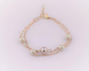 Ivory Pearl Bracelet , Bridesmaids Gift, Ivory Pearl Bridal Bracelet, Minimalist Gold Ivory Bracelet.