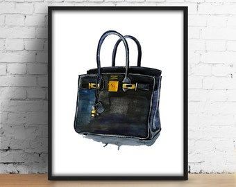 Hermes Birkin Bag print Hermes Black Bag digital print Fashionista printable art Illustration Fashion watercolor decor Girl Room Wall Art