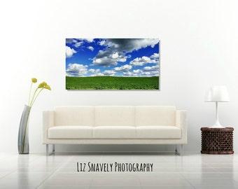 "Panoramic Blue Cloudy Sky Canvas, Panoramic White Clouds, Green Landscape, Panoramic Sky Canvas, Blue Sky Canvas Wrap, Green Decor ""Adrift"""