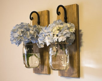 Rustic Hanging Mason Jar Vase Home Decor - Farmhouse Home Decor - Reclaimed Wood Wall Decor Storage