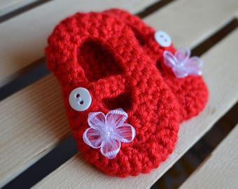 Red mary jane booties, Crochet Baby booties, Infant booties, baby shoes, Flower, red, Mary Jane,