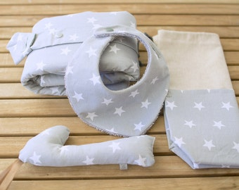 Birth Gift Kit | Changer, multi-purpose bag, bandana and rattle bib | Grey with white stars