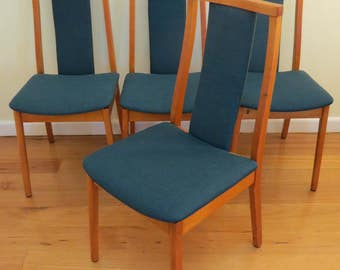Set of 4  Retro Australian Mid Century Modern Dining Chairs in WARWICK fabric
