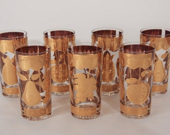 Culver Mid Century Gold Fruit Pattern Signed Tumblers-Set of 7