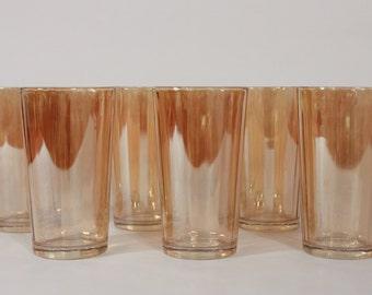 Vintage Iridescent Peach Tumblers-Mid Century Glasses-Set of 6