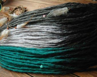 Crochet synthetic double ended DE dreads set dreads custom for full head handmade black dark gray light gray emerald