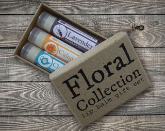 Floral Collection Beeswax Lip Balm Gift Set - Free UK P&P